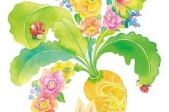 """うーぶーとにんじん<br/><span class=""""gallery_description"""">制作:2012<br/>大好きなにんじんと「ハイ、ポーズ♡」葉っぱがお花になっているよ。にんじんにも蝶模様があるよ。</span>"""
