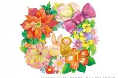 """花のおたより<br/><span class=""""gallery_description"""">制作:2013<br/>12ヶ月の色とりどりのお花のリースに囲まれてあまーい良い香り。さぁ、これから素敵な1年のスタートだよ。</span>"""