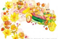 """Tropical bike<br/><span class=""""gallery_description"""">制作:2013<br/>いつもと違うワイルドな2人☆なかよしのくまバチさんにフルーツのおすそわけ。くまバチさんも代わりにあまーいハチミツをくれました。</span>"""