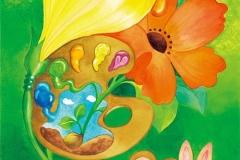 """花筆パレット<br/><span class=""""gallery_description"""">制作:2013<br/>みんな素敵な花咲く種を持っている。さぁ、あなたはどんな色の花を咲かせる?自分を彩れ 花筆パレット。</span>"""
